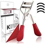 KIPOZI Eyelash Curler, Pro Lash Curler with 4 Refills Pads, Long lasting and Natural Curling, No Pinching, Fits All Eye Shapes Get Gorgeous Eyelashes in Seconds