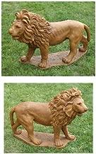 Set of 2 Majestic Lion Cast Stone Concrete Outdoor Garden Statues