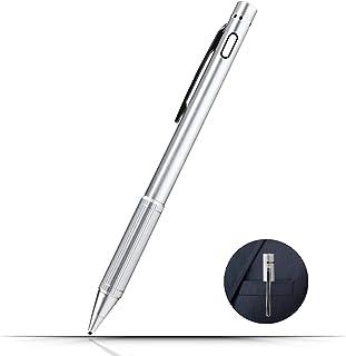 Localcool タッチペン スタイラスペン スマートフォン タブレット用 iPad/iPhone/IOS/Android用 極細銅製1.45mmペン 金属製 軽量 USB充電式(シルバー)