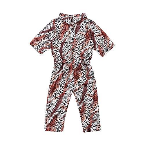 Hnyenmcko Peuter Meisjes Baby Kid Luipaard Romper Mid-Sleeve Lapel Knop Elastische Taille Jumpsuit Bodysuit Herfst Kleding Outfit