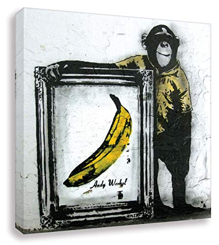 Druck auf leinwand Banksy Graffiti - Bild Banana ! Bild fertig auf Keilrahmen !Kunstdrucke, Wandbilder, Bilder zur Dekoration - (div. Größen) (20x20cm)