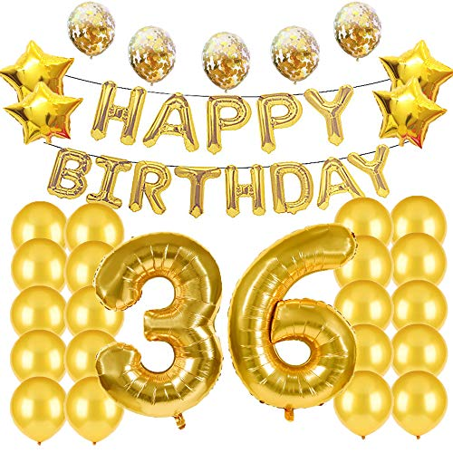 Suministros para decoración de 36 cumpleaños, globos dorados, globos de polietileno número...