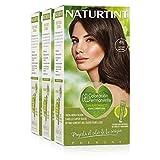 Naturtint Coloración. Tinte sin Amoniaco.100% Cobertura de Canas. Ingredientes Vegetales. Color Natural. 4N Castaño Natural. Pack de 3