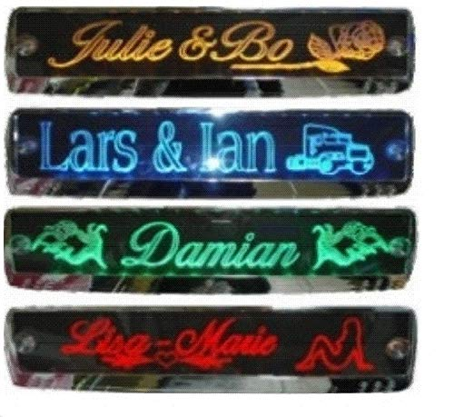 LED-Leuchtschild mit Namen, 52x11,5cm ✓ Ideale Geschenkidee ✓ 18 LEDs ✓ Lasergraviert | Edles Neonschild | Beleuchtetes LED-Schild für den 12/24Volt-Anschluss | Ideales LKW-Zubehör für Trucker