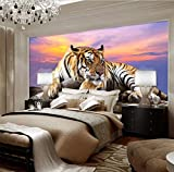 Papier Peint PhotoPaysage Coucher De Soleil Tigre 3D Peinture Murale Intissé Moderne - Poster Geant Pour Chambre Salon Cuisine Salle De Bain Décoration 300CMx210CM