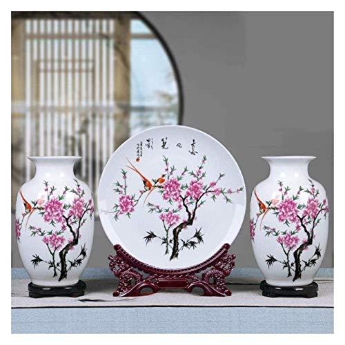 Vase Grave cerámica clásica hecha a mano de tres piezas para decoración de flores secas arte hogar sala de estar dormitorio escritorio blanco 3 piezas para flores