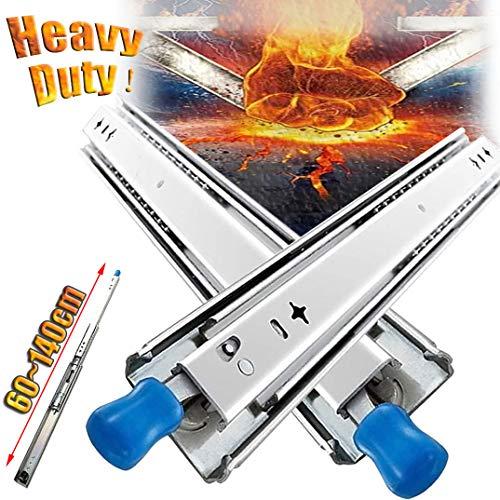 GXING 2 X Schwerlast-Kugellager Schubladenführung, (600mm-1500mm) Tragkraft: 120kg, Vollauszüge Schubladenschienen Mit Lock-in/Out Einrastfunktion