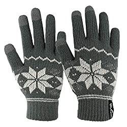 Red touchscreen gloves with grey snowflake design