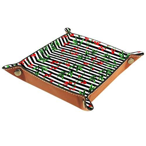 Bandeja de Valet Cuero para Hombres - Cereza Rayada - Caja de Almacenamiento Escritorio o Aparador Organizador,Captura para Llaves,Teléfono,Billetera,Moneda