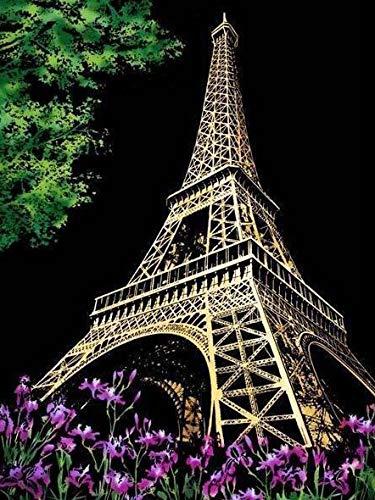 ZXXGA DIY 5D Pintura Diamante por Kit,Torre Eiffel 30x40cm,Crystal Rhinestone Artes de Bordado Punto de Cruz Artesanía Lienzo Artesanal decoración de la Pared del hogar