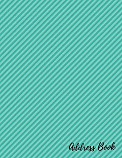 Address Book: Teal Slanted Lines Pattern For Contacts, Addresses, Phone Numbers, Emails & Birthday. Alphabetical Organizer Journal Notebook (Address Books)