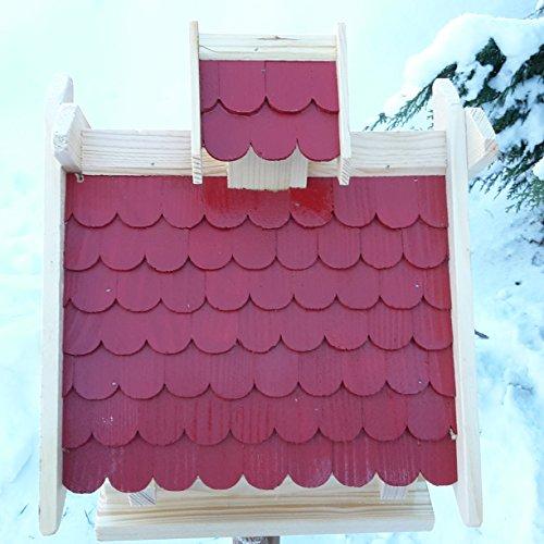 Vogelhaus Futterhaus Vogelhäuschen –Wetterschutz– K Block Rot Holz Vogelhäuser - 2