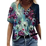 Janepam Women T-Shirt Tops Dandelion Floral Graphic Pattern Print Short Sleeve V-Neck Plus Size Loose Tee Blouse(J Navy,XL)