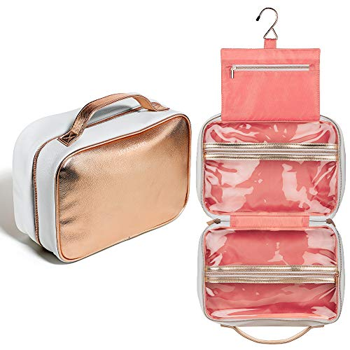 Large Hanging Wash Bag Women – Toiletry Case/Makeup Organiser with Hook with Clear Compartments by Lily England (Rose Gold)
