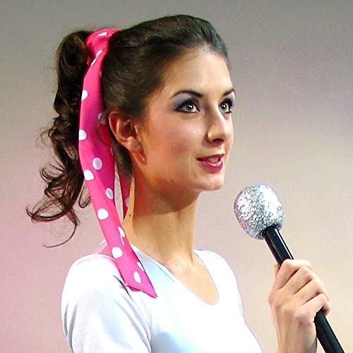NET TOYS Bandeau pour Cheveux des années 50 - Rose et Blanc   Ruban de Cheveux Rockabilly   Accessoire tête à Pois   Coiffe pointée Rockabella