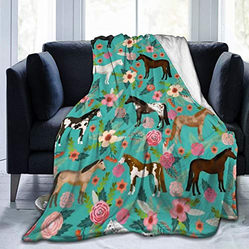 Flannel Plush Travel Throw Blanket, Horses Floral Horse Breeds Farm Animal Pets Flowers Pattern Throw for Winter Bedroom Decorative, Wrinkle-Resistant Air conditioning blanket Anti-Static - 60x50 Inch