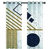 YUNSW Geometrische Bronzing Graffiti Schatten Vorhänge, Garten Wohnzimmer Schlafzimmer Küche Schallschutzvorhänge, Perforierte Zweiteilige Vorhänge - 5