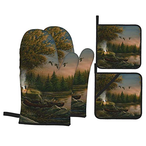 TGSCBN Evening Camping Picnic Oven Mitts and Pot Holders Sets of 4,Resistant Hot Pads with Polyester Non-Slip BBQ Gloves for Kitchen,Cooking,Baking,Grilling