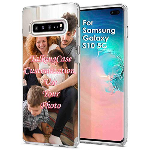 TalkingCase Personalize Custom Clear Thin Gel Phone Case for Samsung Galaxy S10 Plus,Family Photo,Light Weight,Ultra Flexible,Soft Touch,Anti-Scratch,Designed in USA