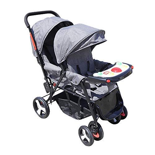 Cochecito doble plegable transpirable gris bebé hermano con cesta y comedero para gemelos
