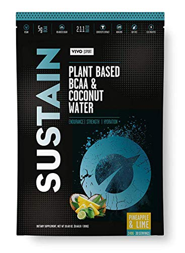 Vivo Sport Sustain - Polvere vegana con Acqua di Cocco e BCAA - Gusto Ananas e Lime, 300g