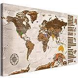 murando Rubbelweltkarte deutsch Pinnwand 90x45 cm beige Weltneuheit: Weltkarte zum Rubbeln Laminiert Rubbelkarte mit Fahnen/Nationalflaggen Inkl. 50 Markierfähnchen/Pinnnadeln k-A-0224-o-c