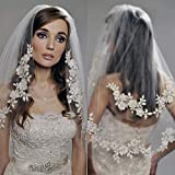 Kercisbeauty Wedding Bridal Lace Double layer Appliques Edge Veil Drop with Hair Comb Flower Lace and Pearl Chapel Hair Accessories (Ivory)