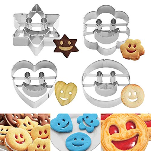 Sunshine smile 4 Stück Ausstecher Set für Keks,Ausstechformen Backen Fondant,Backzubehör,Ausstecher Set,keksausstecher,Plätzchen Ausstecher,Plätzchenformen(A)