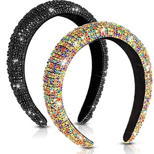 2 Pieces Padded Rhinestone Headband Diamond Headband Hairband Crystal Embellished Hair Hoop Wedding Wide Headpiece Hair Accessory (Classic Colors)