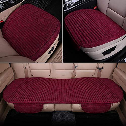 Linen Car Seat Cushion Pad For Car,non-slip Breathable Driver Seat Cover Four Seasons Ergonomics-burgundy- 3 Piece 49x126cm(19x50inch)