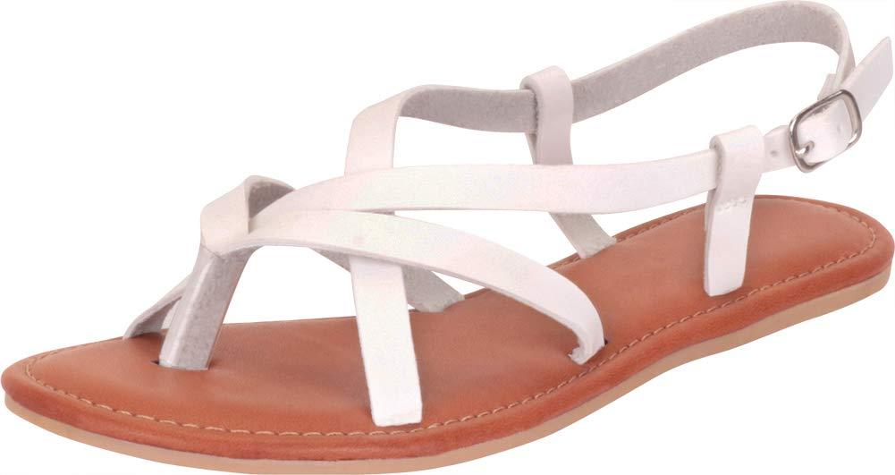 Cambridge Select 女式丁字趾十字交叉系带平底凉鞋