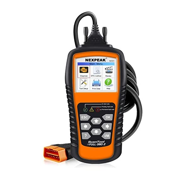 NEXPEAK OBD2 Scanner NX501 Enhanced OBD II Auto Code Reader Car Diagnostic Scan Tool Vehicle Check Engine Light Analyzer… 1 【Professional Vehicle Code Reader】 NEXPEAK NX501 is an enhanced auto scanner that you can NOT ONLY check all engine related fault codes, find out what caused the check engine light comes on, turn-off Malfunction Indicator Lamp (MIL), locate bad O2 sensor, but also can monitor car battery health status, remind you when the battery need to be replaced. It's a perfect scan tool helps you to determine if your car need to be repaired and avoid blind maintenance, saves your time and money. 【Wide Array of Compatibility】 Accurately read and erase error codes on all OBD2 protocol vehicles with a 16 PIN interface (KWP2000, ISO9141, J1850 VPW, J1850 PWM and CAN). The NEXPEAK NX501 is compatible with most US vehicles that are model year 1996 or later – including sedans, SUVs, light trucks, and 12V diesels. This is a plug-and-play engine diagnostic code reader (both generic and manufacturer specific codes) – no extra batteries or apps required. 【NOT ONLY Full OBD2 Function】 All 10 modes OBD2 diagnostic function including: read and erase fault codes, retrieve I/M readiness and freeze frame data. Unique graphical forms to display live sensor data, Auto VIN acquisition, O2 Sensor and EVAP Test (Mode 8), Advanced On-board Monitoring (Mode 6). This auto analyzer can not only reveal what error codes your car is producing, but also monitor the battery voltage at all time during OBD car diagnostic, reminds you when having an aging battery