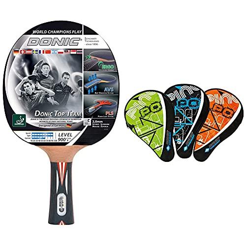Donic-Schildkröt Tischtennisschläger Top Team 900, AVS & PLS-Griff, 2,0 mm Schwamm & Tischtennis Schlägerhülle Classic, Schlägerhülle für einen Schläger, extra Ballfach für 3 Bälle