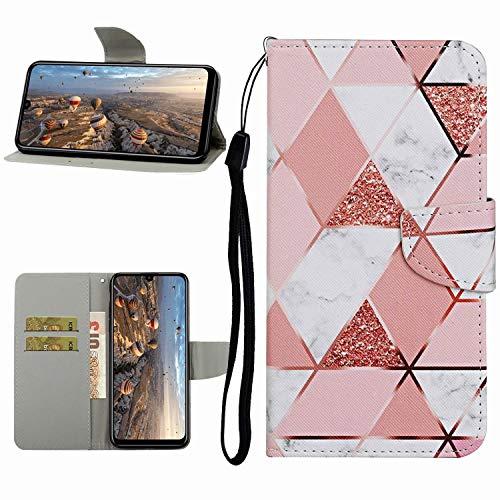 Miagon Hülle für Huawei P40 Lite E,Handyhülle PU Leder Brieftasche Schutz Flip Case Wallet Cover Klapphüllen Tasche Etui mit Kartenfächern Stand,Marmor