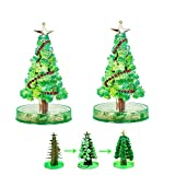 macfee 2 PCS Magic Growing Crystal Christmas Tree, Christmas Decorations Crystal Paper Tree Toy Novelty Xmas Gift .