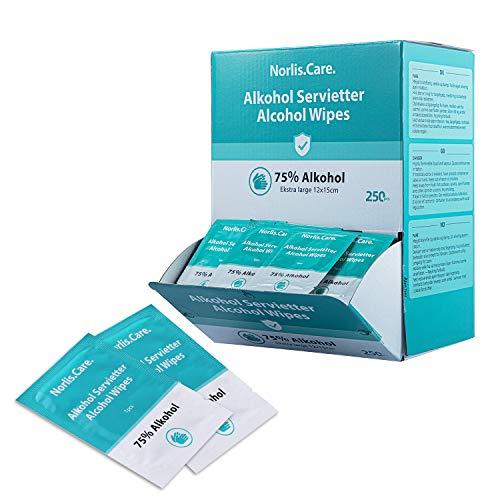 Norlis - Toallitas alcohólicas aptas para manos (250 bolsitas – Un día seguro y limpio