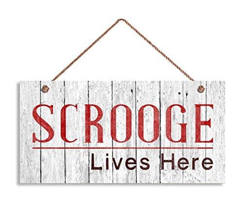Scrooge Sign, Scrooge Lives Here, drôle Décor de vacances, 5 et (X 10 et (Panneau, cadeau de Noël, cadeau humoristique, Bah Humbug Panneau en bois.