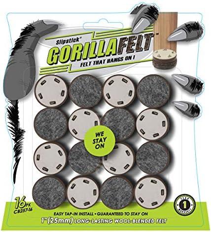 GorillaFelt Chair Leg Floor Protectors Felt Glides Set of 16 Tap On Felt Furniture Pads Guaranteed product image