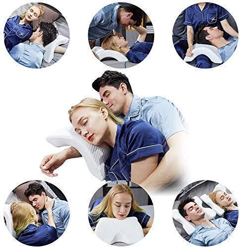 Chengtao Reisekissen Memory Foam Cervical Nackenkissen, U Form Ice Silk Stoff Gewölbte Kissen, 6 In 1 Slow Rebound Pressure Pillow, Romantische Paar Reisekissen für Hand und Nackenschutz
