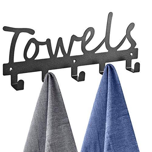 Towel Racks 5 Hooks Black Sandblasted Robe Hooks Wall Mount Towel Holder Black Metal Towel Racks Rustproof and Waterproof for Kitchen Storage Organizer Rack Bathroom Towels Robes Clothing Black