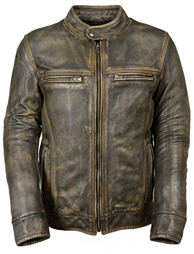 Milwaukee Leather MENS DISTRESSED BROWN MOTORCYCLE JACKET-AIR VENTS, X-Large