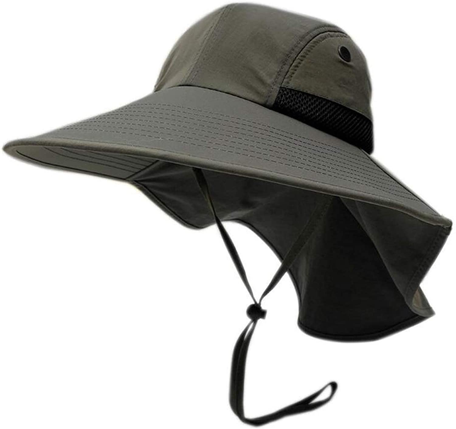 YJLGRYF Sun Hat Male Spring and Summer Sunscreen Visor Waterproof Anti-UV Beach Hat Fishing Fisherman's Hat Leisure 21.2-23.6 inch (color   E)