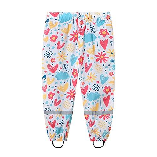 Rain Pants Kids Cartoon Dinosaur Dirty Proof Windbreak Cute Outwear Pants for Boys and Girls Toddler Rain Pants Pink