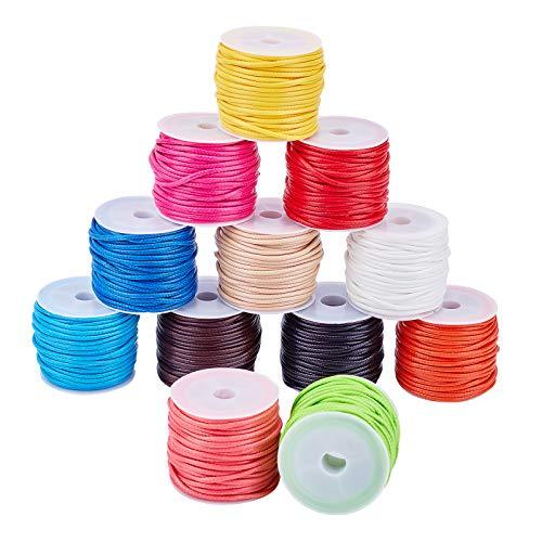 PandaHall 12 colores 11 yardas/rollo de 2 mm, cuerda de poliéster encerado, hilo para cuentas para pulseras, collares, joyas, manualidades, macramé, 12 rollos