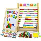 jerryvon Ábaco Madera Infantil Montessori Vertical Puzzle Madera Magnético Doble Care Juguetes Multifuncional Educativo con Barras de Inteligencia Matemática para niños 3+