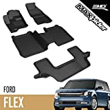 3D MAXpider - L1FR05101509 Ford Flex 2009-2019 (2nd Row with Center Console) Custom Fit All-Weather Car Floor Mats Liners, Kagu Series (1st, 2nd & 3rd Row, Black)
