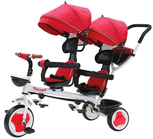 giordano shop Passeggino Triciclo Gemellare Pieghevole con Sedile Girevole 360° Kidfun Tricygò Rosso