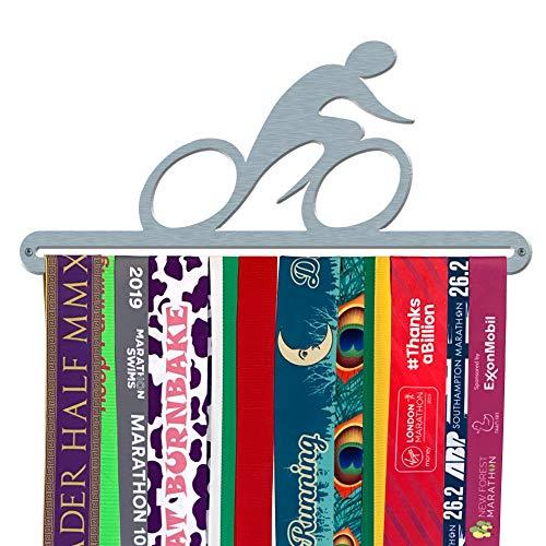 Espositore per medaglie da ciclista, in acciaio inox spazzolato, con sagoma di ciclista, prodotto nel Regno Unito