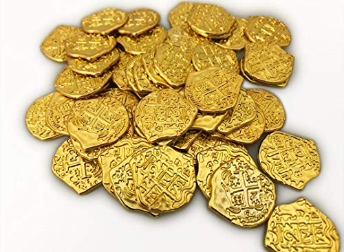 100 Live Action Role Playing Toy Shiny Gold Pirate Coins