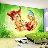 XXUEJ Wallpaper Wandgemälde Netter Babyflügel Des Abstrakten Grünen Hintergrunds Der Karikatur 3D...